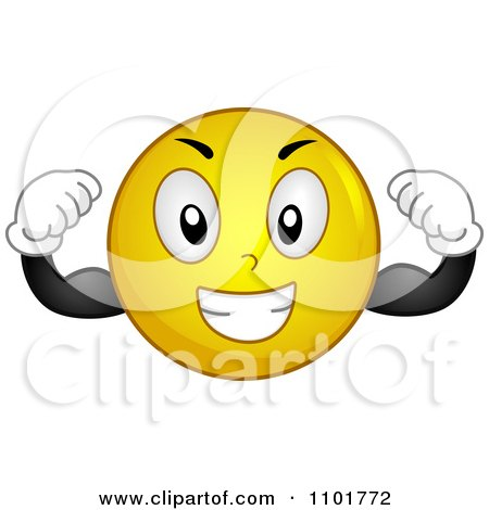 Clipart Strong Yellow Smiley Flexing - Royalty Free Vector    Strong Girls Clipart