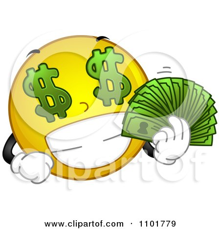 Clipart Rich Yellow Smiley Holding His Cash - Royalty Free Vector Illustration by BNP Design Studio