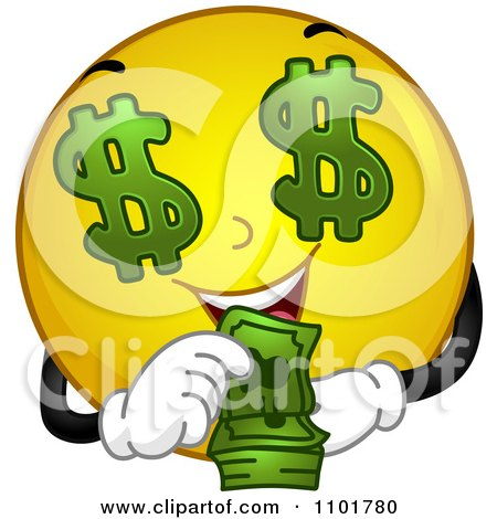 Clipart Rich Yellow Smiley Counting His Cash - Royalty Free Vector Illustration by BNP Design Studio