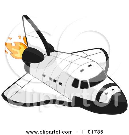 Clipart White Space Shuttle With Flames - Royalty Free Vector Illustration by BNP Design Studio