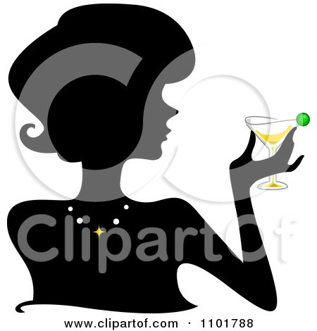 Clipart Silhouetted Woman Holding A Martini - Royalty Free Vector Illustration by BNP Design Studio