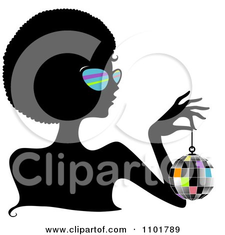 Clipart Silhouetted Black Woman Wearing Sungasses And Holding A Disco Ball - Royalty Free Vector Illustration by BNP Design Studio