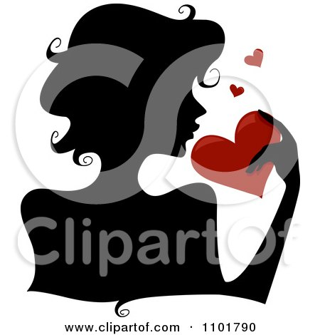 Clipart Silhouetted Woman Holding A Red Heart - Royalty Free Vector Illustration by BNP Design Studio