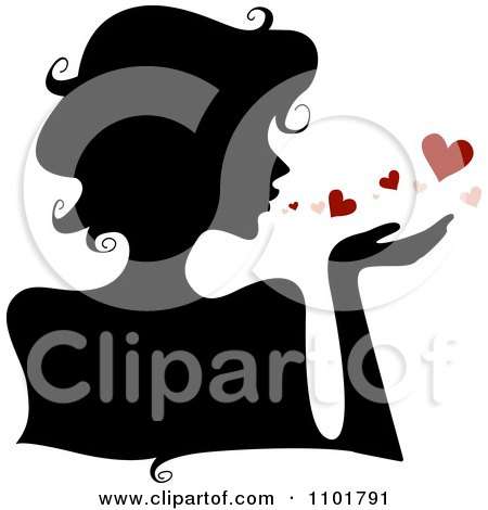 Silhouetted Woman Blowing Hearts Posters, Art Prints
