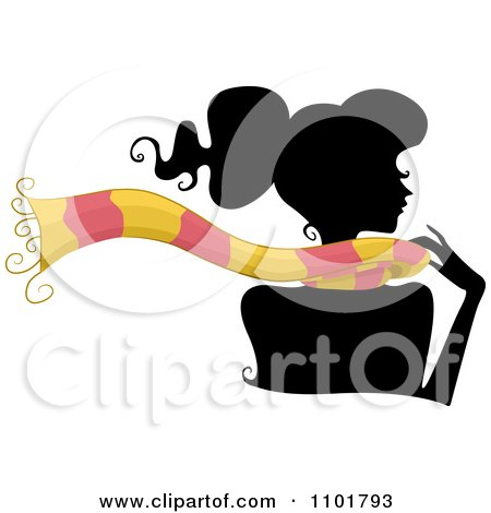 Clipart Silhouetted Woman Wearing A Pink And Yellow Scarf - Royalty Free Vector Illustration by BNP Design Studio