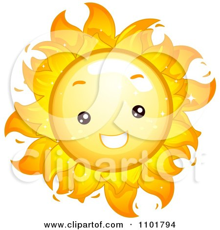 Clipart Happy Cute Summer Sun Smiling - Royalty Free Vector Illustration by BNP Design Studio