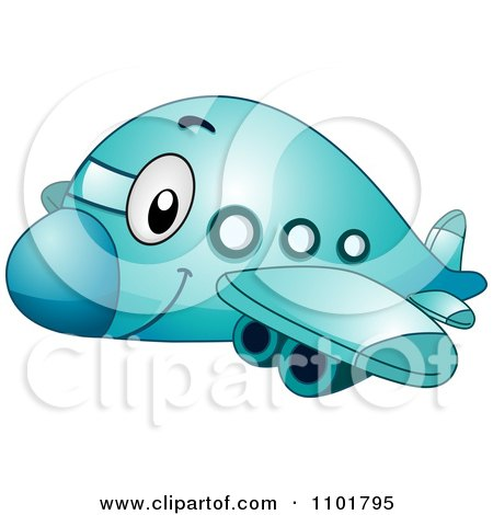 Clipart Cute Happy Blue Passenger Airplane - Royalty Free Vector Illustration by BNP Design Studio