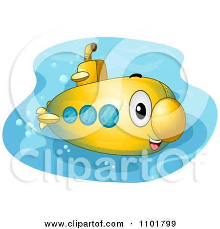 Clipart Cute Happy Yellow Submarine - Royalty Free Vector Illustration by BNP Design Studio