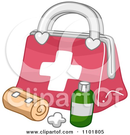 Clipart Bandage And Medicine By A First Aid Medical Kit - Royalty Free Vector Illustration by BNP Design Studio