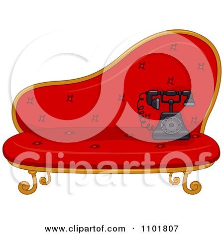 Clipart Old Fashioned Phone On A Red Settee - Royalty Free Vector Illustration by BNP Design Studio