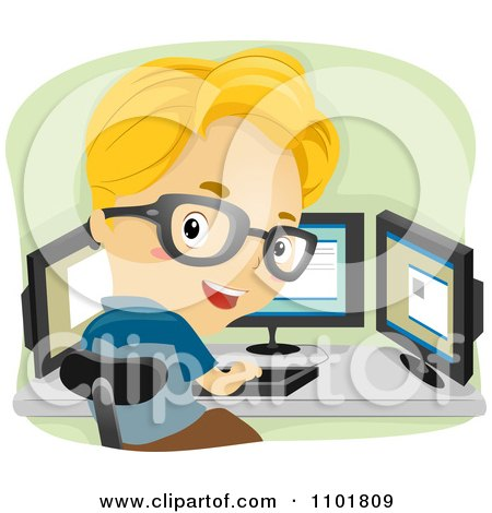 Clipart Smart Boy Working With Three Computer Monitors - Royalty Free Vector Illustration by BNP Design Studio