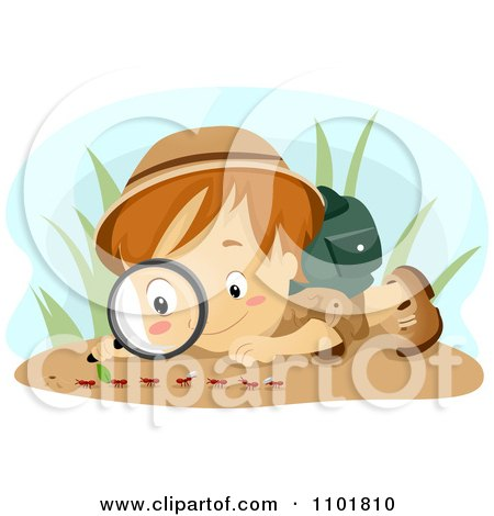 Clipart Boy Observing Ants With A Magnifying Glass - Royalty Free Vector Illustration by BNP Design Studio