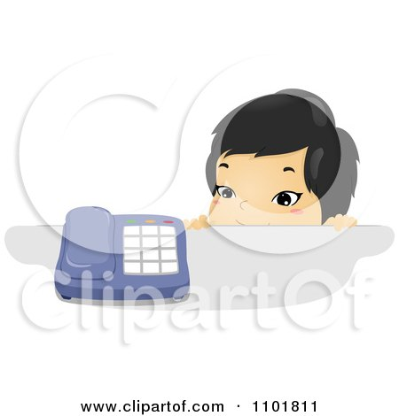 Clipart Asian Child Looking Over A Counter At A Telephone - Royalty Free Vector Illustration by BNP Design Studio
