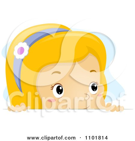 Clipart Blond Girl Looking Over A Surface - Royalty Free Vector Illustration by BNP Design Studio