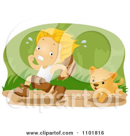 Clipart Explorer Boy Running From A Lion Cub In The Jungle - Royalty Free Vector Illustration by BNP Design Studio