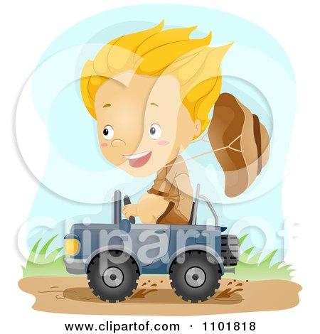 Explorer Boy Driving A Tiny Jeep Posters, Art Prints
