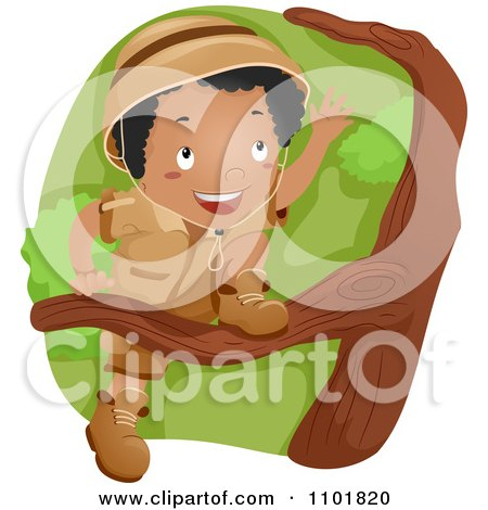 Clipart Black Explorer Boy Scout Boy Climbing A Tree - Royalty Free Vector Illustration by BNP Design Studio