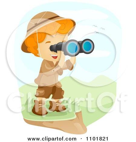 Clipart Explorer Boy Viewing A Landscape Through Binoculars - Royalty Free Vector Illustration by BNP Design Studio
