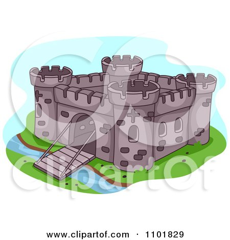 Clipart Fortress With A Bridge Gate Down Over A Moat - Royalty Free Vector Illustration by BNP Design Studio