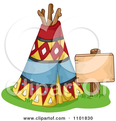 Clipart Native American Tipi With A Sign - Royalty Free Vector Illustration by BNP Design Studio