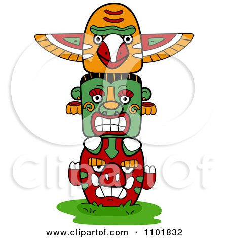 Clipart Native American Totem With Three Faces - Royalty Free Vector Illustration by BNP Design Studio