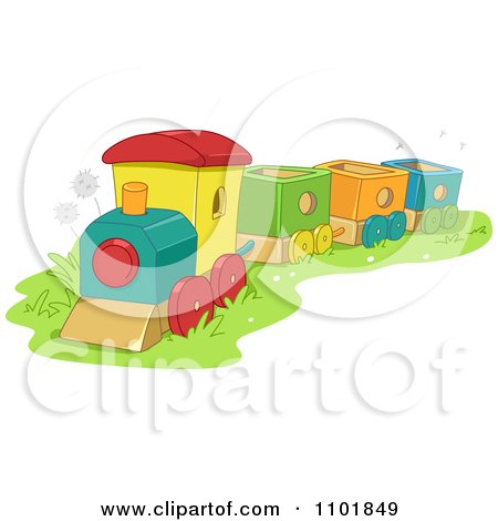 Clipart Toy Train In Grass - Royalty Free Vector Illustration by BNP Design Studio