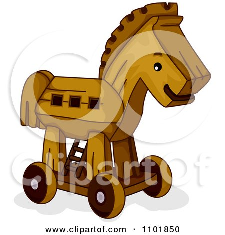 Clipart Wooden Toy Trojan Horse - Royalty Free Vector Illustration by BNP Design Studio