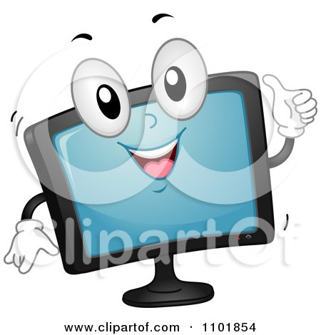 Clipart Happy Tv Or Computer Monitor Holding A Thumb Up - Royalty Free Vector Illustration by BNP Design Studio
