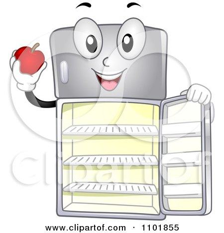 Clipart Happy Refrigerator Holding The Door Open And An Apple - Royalty Free Vector Illustration by BNP Design Studio