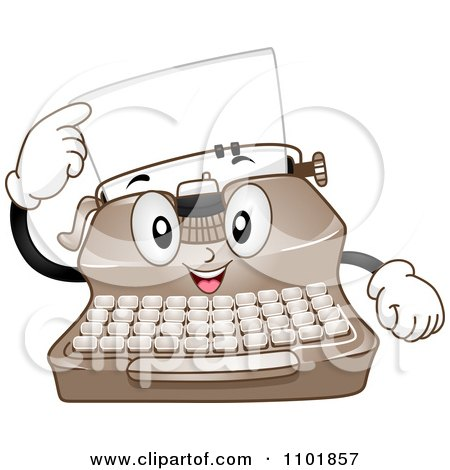 Happy Typewriter Pointing To A Page Posters, Art Prints