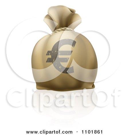 Clipart 3d Euro Bank Money Sack - Royalty Free Vector Illustration by AtStockIllustration
