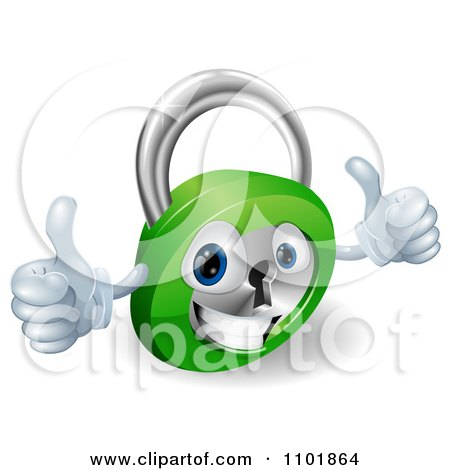 Clipart 3d Happy Padlock With Two Thumbs Up - Royalty Free Vector Illustration by AtStockIllustration