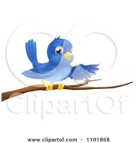 Clipart Happy Blue Bird Pointing On A Bare Tree Branch - Royalty Free Vector Illustration by AtStockIllustration