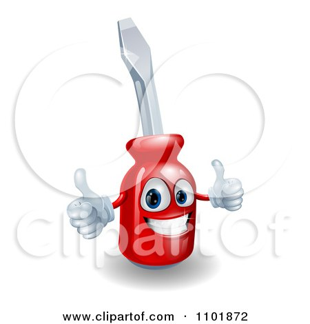 Happy 3d Compact Screwdriver Character Holding Thumbs Up Posters, Art Prints