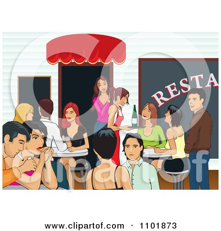 Clipart Happy People Socializing At A Restaurant - Royalty Free Vector Illustration by David Rey