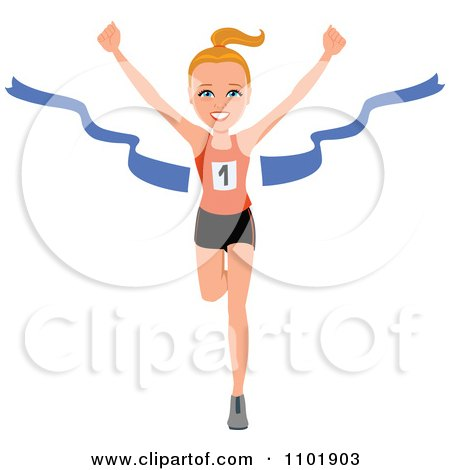 Fit Healthy Marathon Runner Breaking Through The Finish Line Posters, Art Prints