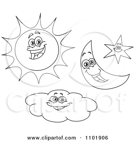 Clipart Outlined Happy Sun Crescent Moon Star And Cloud Characters