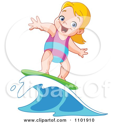 Clipart Happy Blond Surfer Girl Riding A Wave - Royalty Free Vector Illustration by yayayoyo