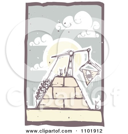 Clipart Woodcut Styled Workers Hoisting An Eye Block To The Top Of A Pyramid - Royalty Free Vector Illustration by xunantunich