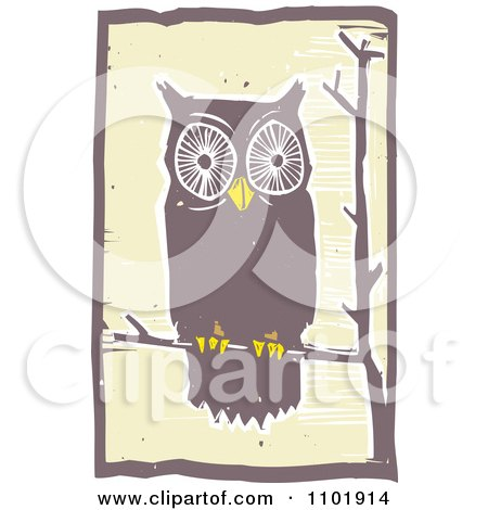 Clipart Woodcut Styled Owl Perched On A Tree Branch - Royalty Free Vector Illustration by xunantunich