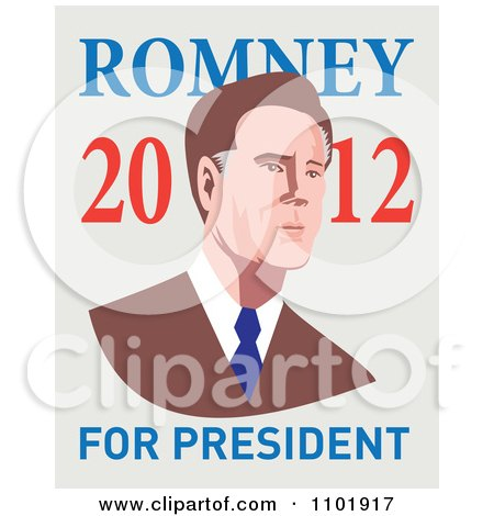 Clipart Mitt Romney In Retro Style With 2012 For President Text - Royalty Free Vector Illustration by patrimonio