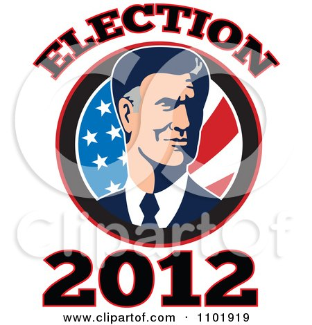 Clipart Republicn American Presidential Candidate Mitt Romney Over Stars And Stripes With 2012 Election Tex - Royalty Free Vector Illustration by patrimonio