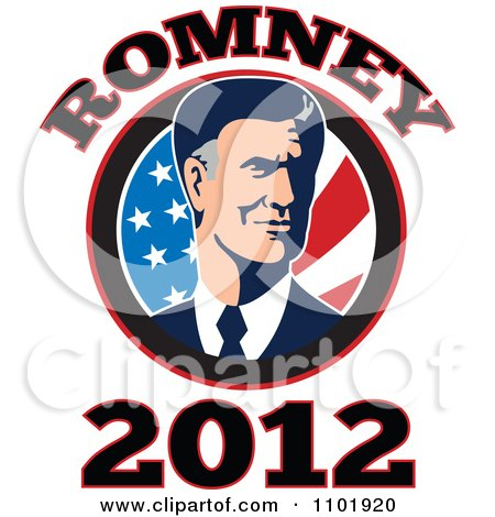 Clipart Republicn American Presidential Candidate Mitt Romney Over Stars And Stripes With 2012 Text - Royalty Free Vector Illustration by patrimonio