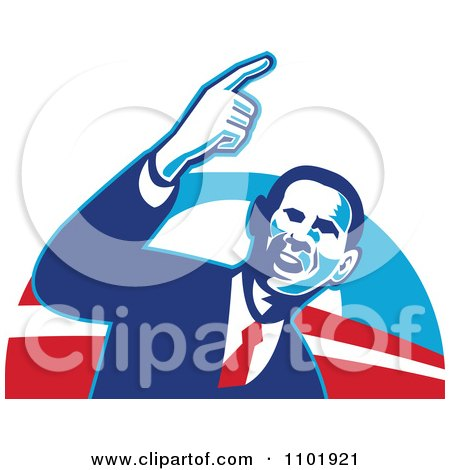 Clipart Barack Obama American President Over Red White And Blue - Royalty Free Vector Illustration by patrimonio