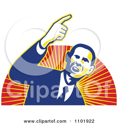 Clipart Barack Obama American President Over Red And Orange Rays - Royalty Free Vector Illustration by patrimonio