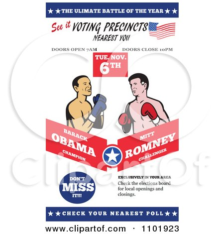 Clipart Republican American Presidential Candidate Mitt Romney And President Barack Obama Boxing - Royalty Free Vector Illustration by patrimonio