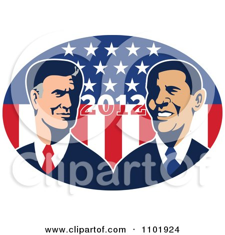 Clipart Retro Styled Republican Politician Mitt Romney And President Barack Obama Over 2012 And Stars And Stripes - Royalty Free Vector Illustration by patrimonio
