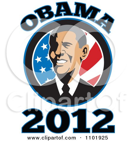 Clipart Barack Obama American President Over Stars And Stripes With Text - Royalty Free Vector Illustration by patrimonio
