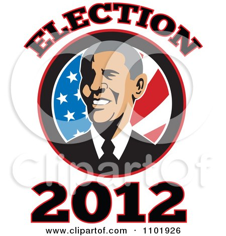 Clipart Barack Obama American President Over Stars And Stripes With Election 2012 Text - Royalty Free Vector Illustration by patrimonio