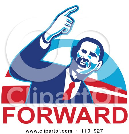Clipart Barack Obama American President Over Forward Text - Royalty Free Vector Illustration by patrimonio